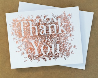 Rose Gold Foil Thank You Card, Thank You Card Set