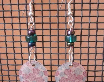 ON SALE Purple and greeny blue shrink plastic drop earrings with a glass bead