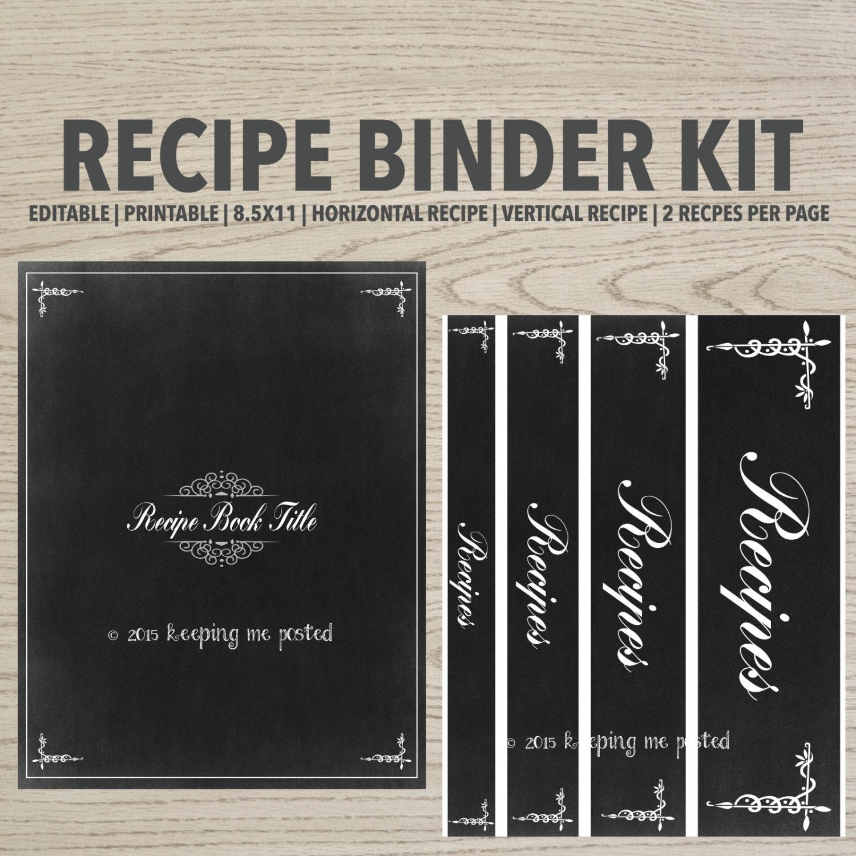 Chalkboard Cookbook Cover : Chalkboard recipe binder printable kit editable diy