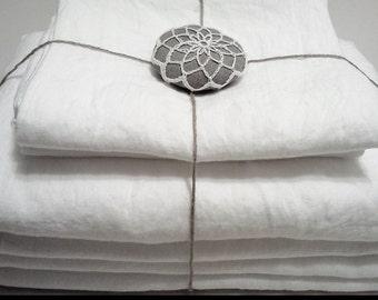 Pure Linen sheet set, Queen/ King/ Twin size, 100% pure Belgian  linen, extra deep fitted linen sheets