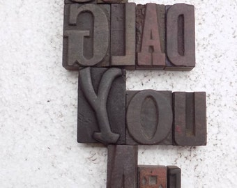 """50% Discount 23 Antique Letterpress Printers Wood Type Blocks """"Welcome So Glad You Are Here"""" hand carved & craft  60 m.m. to 25 m.m. #be-57"""