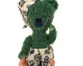 Green mohair teddy bear, stuffed bear, handmade stuffed animal, Waldorf toy, Ecofriendly toy, pretend play, toys,heirloom toys,gifts for kid