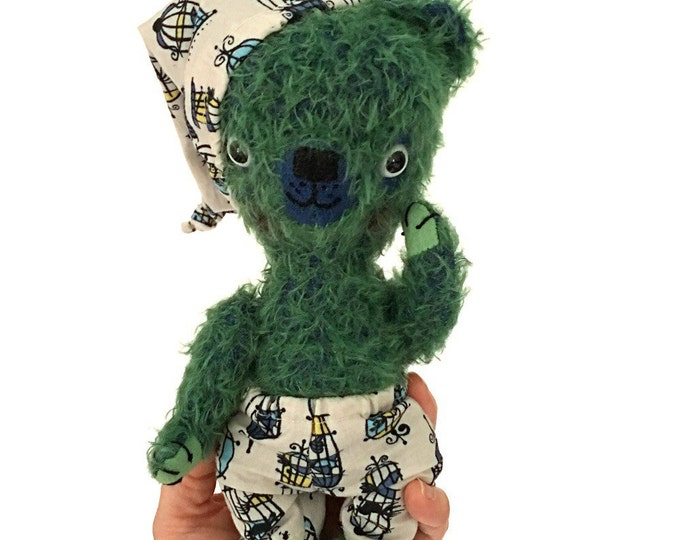 Green mohair teddy bear, stuffed bear, handmade stuffed animal, Waldorf toy, Ecofriendly toy, pretend play, toys,heirloom toys,gifts for kid