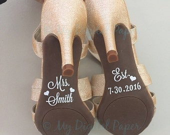 Wedding Shoe Decal - Bridal Shoe Sticker - Custom Shoe Decals - Wedding Shoe Sticker - Shoe Sole Decal - decal for shoe - shoe decal - Bride
