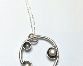 Orbit Pendant - Sterling silver and pearl oxidised necklace