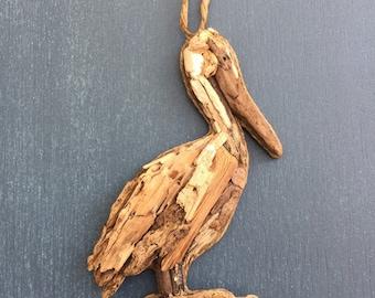 Driftwood Pelican / Small Coastal Decor / Ornament