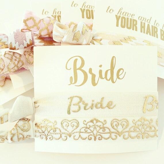 Ivory + Gold Bride Hair Tie Set   Ivory + Gold Foil Bride Hair Tie Gift, Cream + Gold Foil Bridal Wedding Shower Bachelorette Party Gift Set