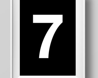 Number Seven, Lucky Number Seven. Print, A4 printable art, Digital Download, black and white