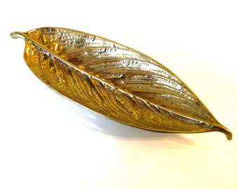 "Virginia Metalcrafters Solid Brass Leaf Dish Galathea 1948 10"""