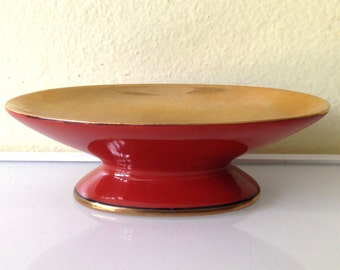 Vintage Fits and Floyd Ceramic Gilt Washed Red Soapdish 1975