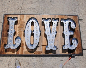 Love metal letter marquee sign with bulbs. Any font. Great for weddings and as gifts. Custom sizes and finishes available.