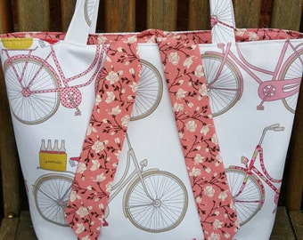 Unique bicycle fabric tied tote bag, fully lined in matching floral cotton fabric - can also be custom made