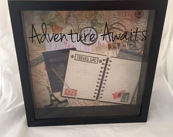 12x12 World Traveler Ticket Stub Holder, Keepsake, or Souvenir Shadow Box for Road Trips, Vacations, etc. (World Map with Adventure Awaits)