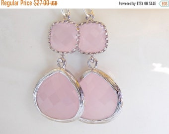 SALE Wedding Jewelry , Ice Pink Earrings, Silver, Pink, Soft Pink, Pale Pink, Bridesmaid Gifts, Bridesmaid Jewelry, Dangle, Drop, Wedding Gi