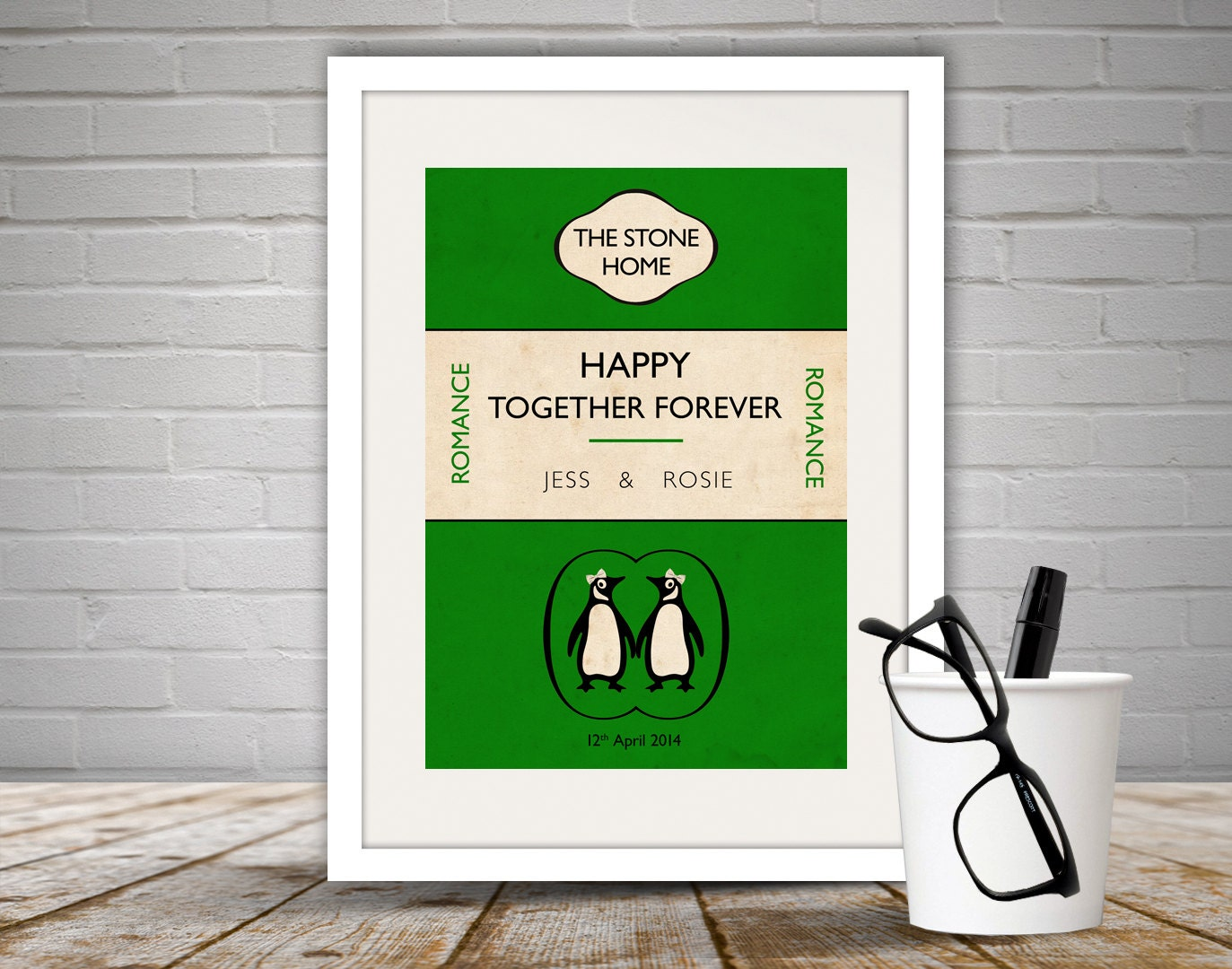 Penguin Book Cover Tote Bag ~ Personalised penguin book cover print by loveloveprintsshop