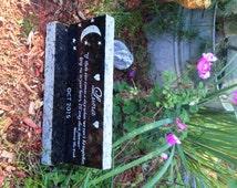 "Custom Long Pet Memorial Stone, Gravestone, Pet Headstone incl BASE*,12"" X 3-1/2"" X 1-1/2""* Hand Engraved,~DESIGN YOUR Own Pet Gravestone"