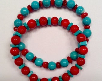 Red and green turquoise stretch bracelet w/matching earrings