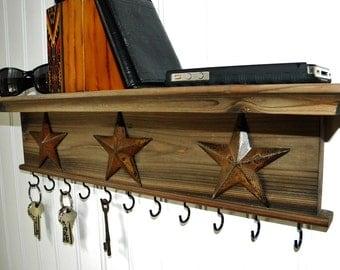 Key Holder Wall Shelf  Rustic Wood Handmade Wall Mounted
