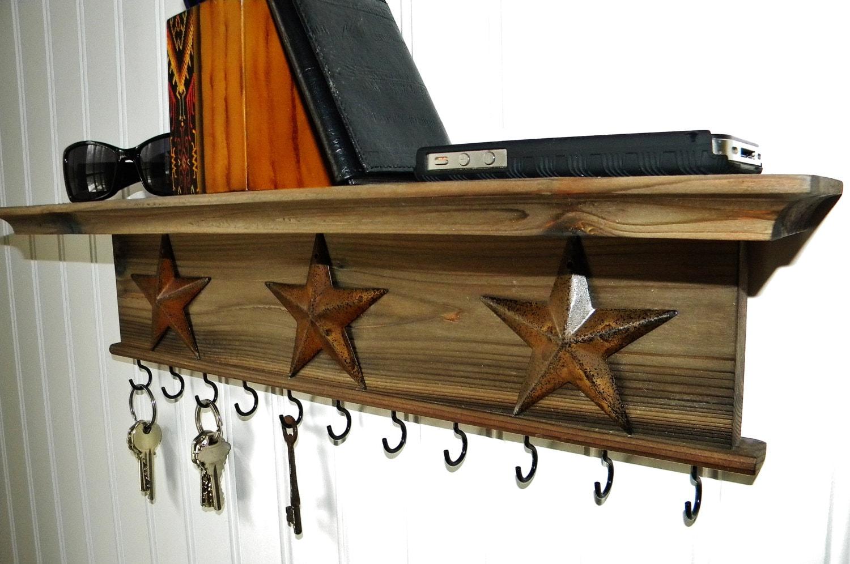 key holder wall shelf rustic wood handmade wall mounted. Black Bedroom Furniture Sets. Home Design Ideas