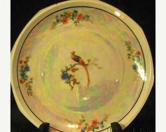 "Discounted 35% Free Ship MZ Altrohlau Bird of Paradise 7.75"" Plate Opalescent"