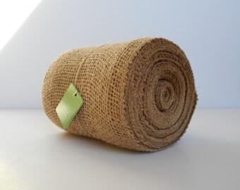 """Tan BURLAP Ribbon, JUTE Mesh Ribbon 5.5"""" x 30' Roll, 10 Yds of Natural, Tan, Light Brown 100% Jute Burlap Ribbon Roll"""