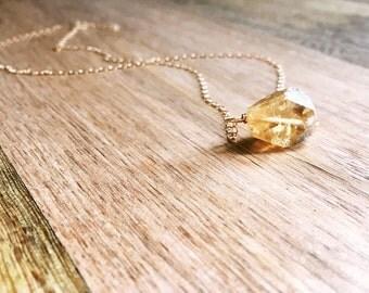 Raw Citrine Necklace  -  Citrine Necklace - Raw Stone Necklace - Raw Crystal Necklace -Raw Citrine  - November Birthstone