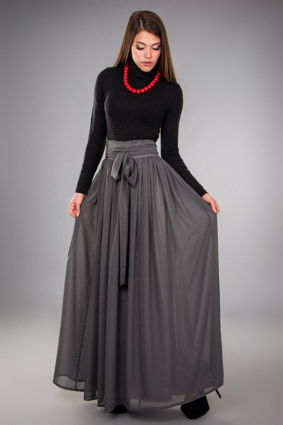 grey chiffon skirt folds maxi skirt floor length by