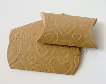 12 Kraft Pillow Boxes -Hearts Embossed-Candy Box, Favor Box, Gift Box-Set of 12pcs
