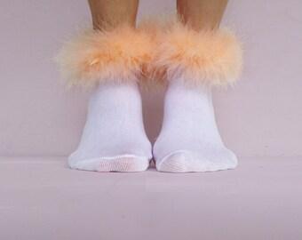 Peach Fluffy Ankle Socks