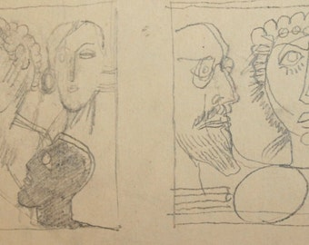 Vintage Abstract Figures Nude Pencil Drawing