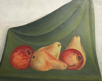 Antique Oil Painting Still Life With Apples And Pears