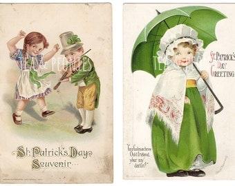 2 St. Patrick's Day Postcards- DIGITAL DOWNLOAD- 1900's Vintage/Antique