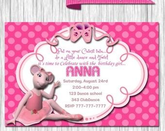 50%off Angelina Ballerina Birthday Invitation-Angelina Ballerina Party Invite-Ballet invitation-Ballet birthday party-Angelina ballerina inv
