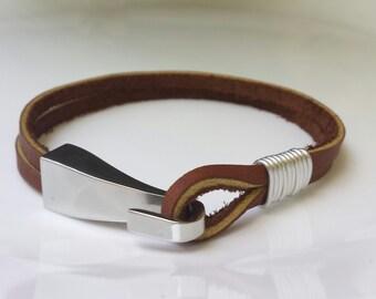 FREE SHIPPING-Leather Hook Bracelet, Man Bracelet, Double leather Cord Bracelet, Brown Bracelet, Birthday Gift, Simple Leather Bracelet