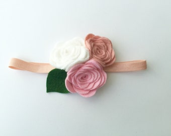 baby girl headband - pink and white -  flower headband - Regal Accessory