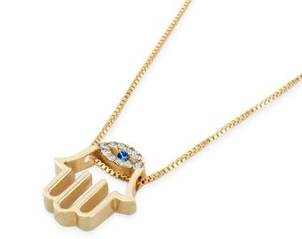 14k Gold Hamsa Necklace: Set with 0.10 ct Diamonds and 0.05 ct Sapphire