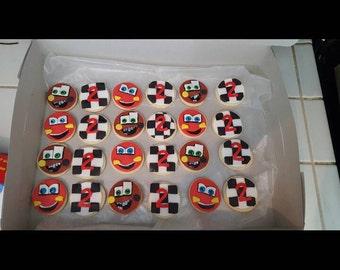 1 dozen cars themed sugar cookies