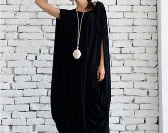 Black Maxi Dress/ Extravagant Loose Kaftan/ Extra Large Long Tunic / Sleeveless Long Dress / Black Oversize Tunic / Plus Size Maxi Dress