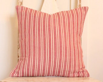 Red and White Ticking Stripe Pillow Cover