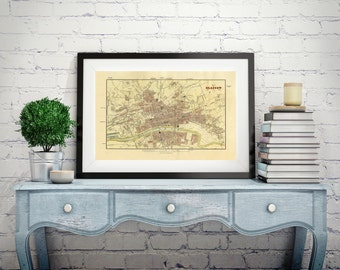 MAP OF GLASGOW Scotland Old Map Wall Map Scotland Antique Map Print Wall Art Large Canvas Large Map Home Scotland  Map Poster Maps Old Maps
