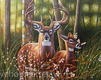 Handpainted Deer Oil Painting Reproduction For Home Decor Or Gift