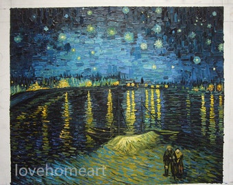 Starry Night Over the Rhone - Vincent van Gogh hand-painted oil painting reproduction  for home decor wall art