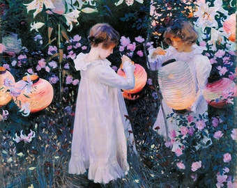Carnation, Lily, Lily, Rose - John Singer Sargent hand-painted oil painting reproduction for child art or child room deccor or gift