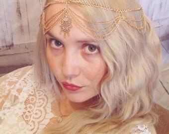 Bohemian head chain, wedding hair chain, gold hair chain, Art Deco hair chain, bridal hair chain, forehead brooch, hair brooch