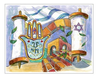 Torah Scrolls. Watercolor and Ink. Blank Note Card and Envelope.