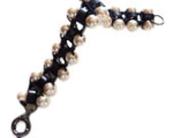 Leather and Pearl Bracelet Vintage Lee Angel Pearl Bracelet Leather Bracelet Bohemian Jewelry
