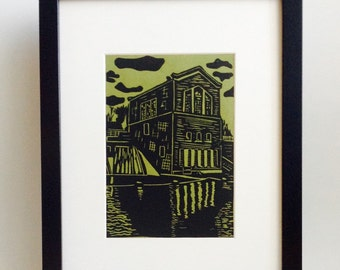 "River Dam Station handmade linocut print 5x7"", unframed (moss green) - home decor, wall art, made in Michigan, birthday gift"