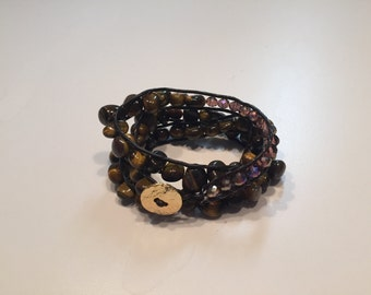 Tiger Eye Beaded Wrap Bracelet