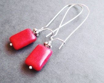 Red Turquoise Earrings, Coral Red Bridesmaid Gift, Howlite Earrings, Bohemian Jewelry, Stone Long Earrings, Howlite Jewelry, Beach Wedding