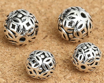 5 Sterling Silver Coin Round Beads, 925 Sterling Silver Round Bead, Sterling Silver Coin Beads, Spacer Beads, Round Ball Beads 8mm 9mm